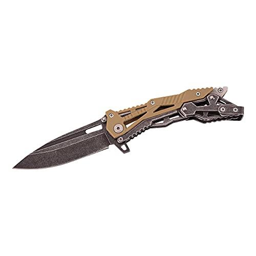 Herbertz Einhandmesser, Stahl AISI 420, Drop Point, Clip, Black Wash, Nylongriffschalen, hochwertiges Klappmesser, scharfes Taschenmesser