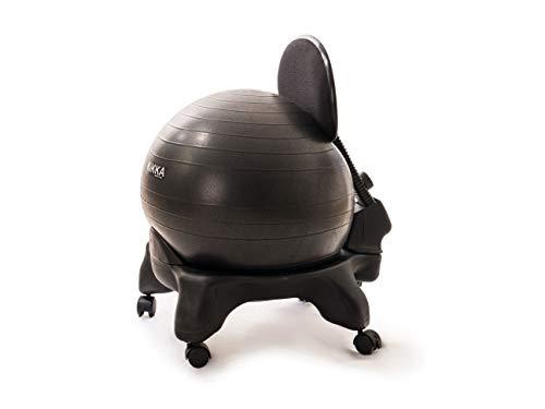 Kikka PLUS Active Chair Nera - Sedia Ergonomica con Pallone Gonfiabile e Schienale Regolabile