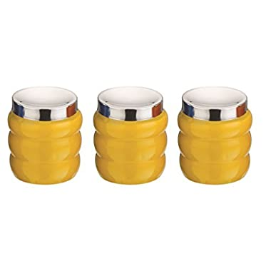 Kitchen Kemistry, Ribbed Stainless Steel Canisters with Convex Lid Set, 3-Pieces, Lemon Yellow