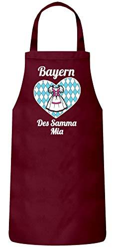 ShirtStreet Wiesn Gaudi Frauen Herren Barbecue Baumwoll Grillschürze Kochschürze Dirndl Oktoberfest - Bayern des samma mia, Größe: OneSize,Burgund