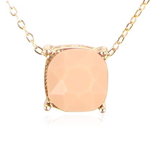 Square Glitter Necklace for Women - Sparkly Small Sequin Confetti Cushion Cut Delicate Chain, Tassel Long Statement (Square - Light Peach)