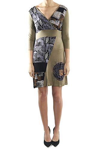Dzhavael CoutureOlive Green Cotton Blend Patchwork Dress Style 30005 Medium