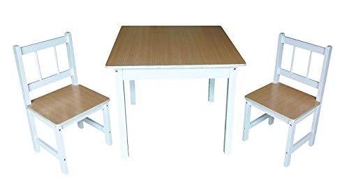 Spetebo Kinder Sitzgruppe - 2 Stühle 1 Tisch - aus Kiefernholz für Innen Natur weiß für Mädchen und Jungen