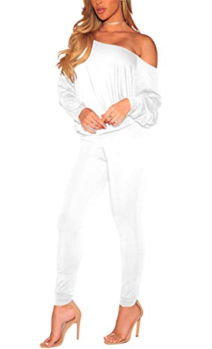 Women's Sexy One Off Shoulder Long Sleeve Tracksuit Set 2 Piece Casual Jogger Sweatsuit Stretchy Jumpsuit White