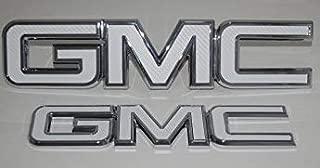 Shop Vinyl Design GMC Front and Rear Emblem Overlay Kit, DIY, Denali, Sierra, Yukon, Acadia, Terrain 3M White Carbon Fiber-2 KIT
