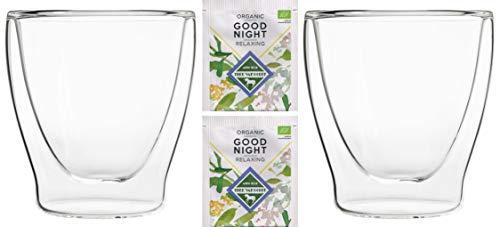Feelino Teeset: 2X 200ml + 2X Bio-Tee Good Night - 2X 200ml doppelwandige Gläser/Thermogläser mit Schwebe-Effekt / 2X Bio Teebeutel Kräutertee, Kamille, Zitronengras … / DUOS-Set by
