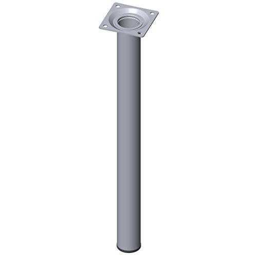 Element System 4 Stück Stahlrohrfüße rund / Tischbeine / Möbelfüße / inkl. Anschraubplatte / L 40 cm / Ø 30 mm / chrom / 4 Farben / 11 Abmessungen