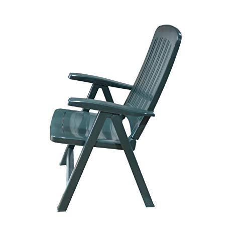 Silla Plástico Plegable Multi-Posiciones, Muy Ligera y Resistente Ideal para Jardín y Piscina de Color Verde