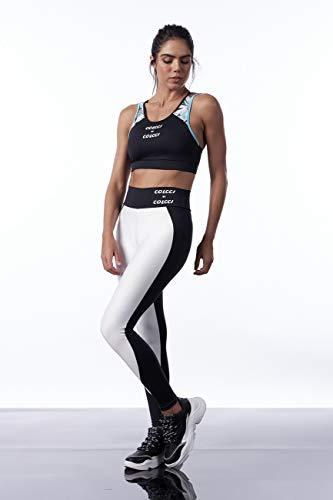 Calça Legging Bicolor, Colcci Fitness, Feminino, Off/Preto, G