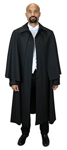 Historical Emporium Men's Wool Blend Inverness Dress Coat XL/2X Black