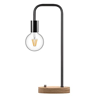 Oneach Industrial Desk Lamp Vintage Edison LED Table Lamp Bedside Lamp for Dorm Office Living Room Bedroom Wooden Base Lamp for Reading Black (Without Bulb)