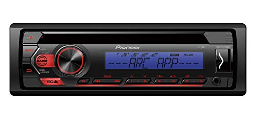 Pioneer DEH-S120UBB, 1DIN RDS-autoradio met rode toetsverlichting, display blauw, Android-ondersteuning, 5-bands equalizer, CD, MP3, USB, AUX-ingang, ARC-app