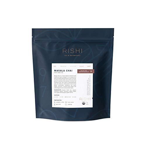 Rishi Tea Masala Chai Black Loose Leaf Herbal Tea Blend | Organic, Spicy, Caffeinated, Balanced | Citrus Flavors for Taste | 1 lb Bag, Makes 35 Cups