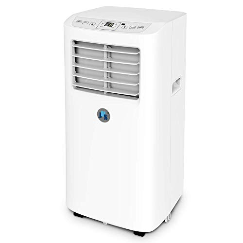 JHS 8,000 BTU Small Portable Air Conditioner 3-in-1 Floor AC Unit with 2 Fan Speeds, Remote Control and Digital LED Display, Cover up to 200 Sq. Ft, White (Renewed)