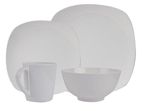 HEKERS 100% Vajilla de melamina blanca/angular - Juego de 8 piezas para 2 personas - Picnic al aire libre Camping Lavavajillas