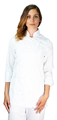 tessile astorino Ricamo Gratuito - Giacca Cuoco da Cucina - Casacca Chef Donna - Bianca- Made in Italy (M)