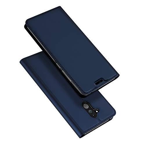 DUX DUCIS Huawei Mate 20 Lite Hülle, Leder Flip Handyhülle Schutzhülle Tasche Hülle mit [Kartenfach] [Standfunktion] [Magnetverschluss] für Huawei Mate 20 Lite (Blau)