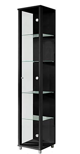 BR-Wohndesign Glasvitrine 172x32x33 cm in Schwarz mit 4 Glasböden, perfekt für Sammler