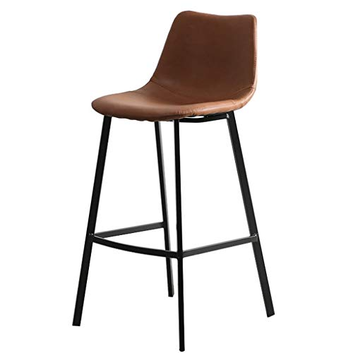 Bar Stools Set Rustic Vintage Retro Metal Leather Industrial Style Seating Cafe With High Back Sunken Seat For Breakfast Bar Stool Kitchen Counter Bar Stool