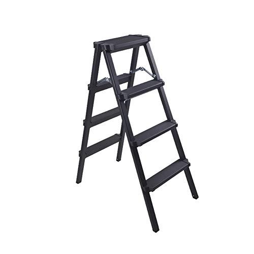 MILAYA JI Bin Shop® Multifunktionsleiter, Klappbarer Trittleiter, Hausleiter, Dicke Aluminiumleiter (schwarz) + (größe : 4 Step)