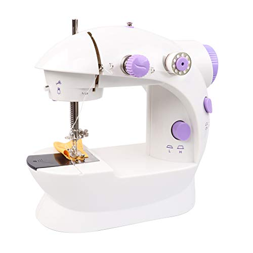 Qooarker Mini Sewing Machine Adjustable Portable Electric Sewing Machine with Foot Pedal 2-Speed Double Thread Handheld Sewing Embroidery Machine for Beginners Kids