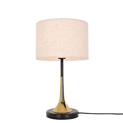 Augu Postmodern Gewebelampenschirm Tischlampe Schlafzimmer Nachttischlampe Stufenlos Abblendschalter Schmiedeeisen Lampenkörper Marmorfuß E27 (Glühlampe * 1)