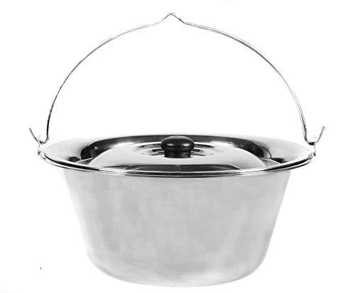 CookKing Kessel Topf aus Edelstahl 14 Liter mit Deckel Gulaschkessel für BBQ Dreibein Schwenkgrill