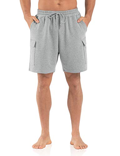 Agnes Urban Mens 6' Cargo Shorts Casual Lounge Elastic Waist Workout Athletic Gym Cotton Terry Sweat Shorts with Pockets Light Grey