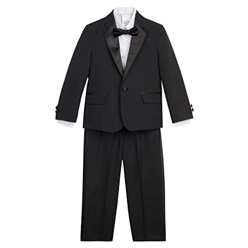 Nautica Boys' Toddler 4-Piece Set with Dress Shirt, Bow Tie, Jacket, and Pants, Black Tuxedo, 2T