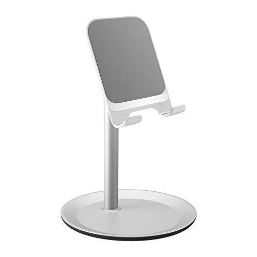 Pukizog Handy Ständer Winkel Verstellbar Handy Halterung Tisch Handyhalter Smartphone Tablet Ständer für Handy, Tablet, iPad, E-Reader und weiteres Geräte von 4,7 bis 10,5 Zoll Silber