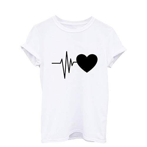 CAOQAO Frauen Lose Kurzarm T-Shirt Mit Herz-Print LäSsige Oansatz Joker Top Slim Fashion
