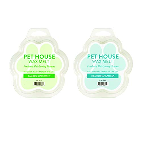 One Fur All 100% Natural Soy Wax Melts in 20+ Fragrances, Pack of 2 by Pet House - Long Lasting Pet Odor Eliminating Wax Melts (Pack of 2, Bamboo Watermint/Mediterranean Sea)