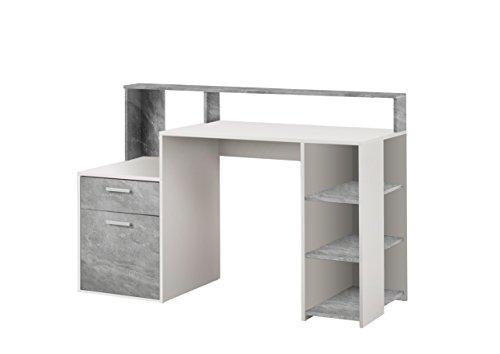 FMD Möbel Bolton Computertisch Holz weiß/beton 138.5 x 53.5 x 92.0 cm