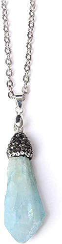 huangshuhua Collares Pendientes de Piedra para Mujer Collar Colgante de Cristal Azul de Piedras Preciosas Naturales Irregulares con Regalo de joyería de Cadena Larga