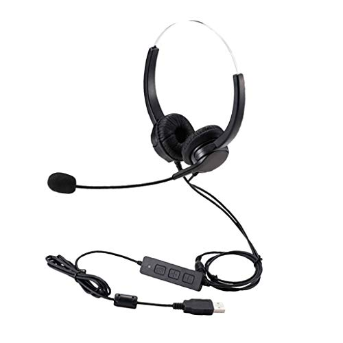 #N/A USB Wired Over-Ear Headset Stereo Earphone Headphones Mic for - Black, as described