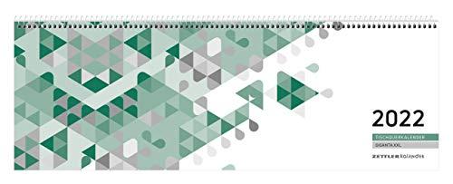 Tischquer-Kalender 2022 42,2x14,8 Giganta - 1W/2S grün - Bürokalender 42x14,5 - 1 Woche 2 Seiten - Stundeneinteilung 7-22 Uhr - 126-0013-1