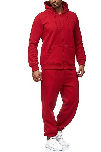 EGOMAXX Herren Jogginganzug Einfarbig Basic Sportanzug2-TeiligTrainingsanzug Baggy Pants Hosen & Sweat Hoodie, Farben:Rot, Größe Hosen:3XL