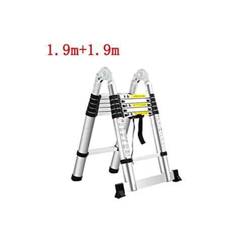ZPWSNH Teleskopleiter Haushalt Bambus Innenklapp Multifunktions Herringbone gerade zweizeilige Leiter Verdickung Aluminiumlegierung Tritthocker (Size : 1.9m+1.9m)
