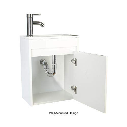 "eclife Bathroom Vanity W/Sink Combo 16"" for Small Space MDF Paint Modern Design White Wall Mounted Cabinet Set, White Resin Basin Sink Top, Chrome Faucet W/Flexible U Shape Drain B10W"