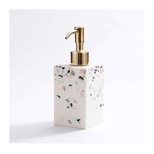 Dispensadores de loción Dispensador de jabón de resina de patrón de textura de mármol, botella de líquido duradero para baño y dispensador de loción de cocina con bomba de acero inoxidable de oro jab