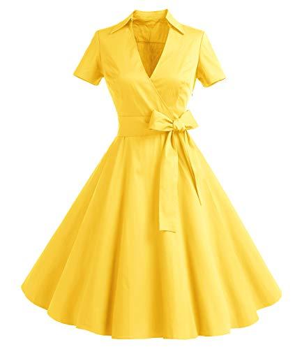 Gonna Vintage Anni 50 60 Audrey Hepburn Vestiti da Cocktail da Donna Elegante di Cotone Manica Corta Yellow 2XL