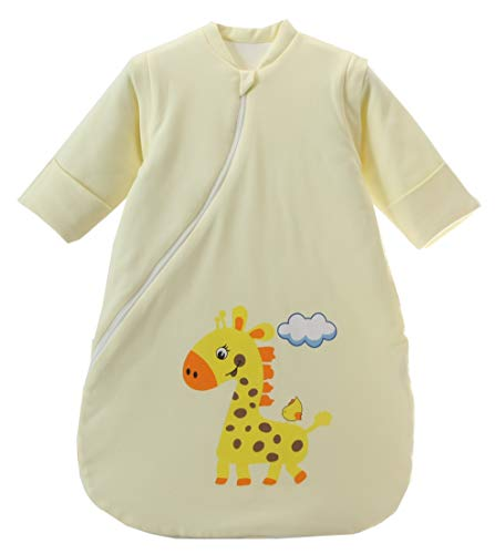 Jaimelavie Baby 3.5 Tog Winter Schlafsack ganz soft Kleine Kinder Schlafanzug mit abnehmbar Langarm aus Baumwolle (M/Baby Höhe 73-85cm, Gelb Giraffe/2.5 Tog)