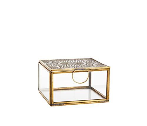 MADAM STOLTZ glazen box met ornament en deksel van metaal in goud, vintage look in marrokaans design, afmetingen 12 x 12 cm