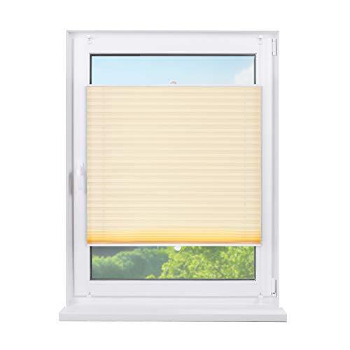 Fensterdecor Klemmfix Sichtschutz-Plissee, Fertig-Plissee mit Spannfeder in Creme, Plissee zum Klemmen ohne Bohren, lichtdurchlässig und Blickdicht, 70 x 130 cm