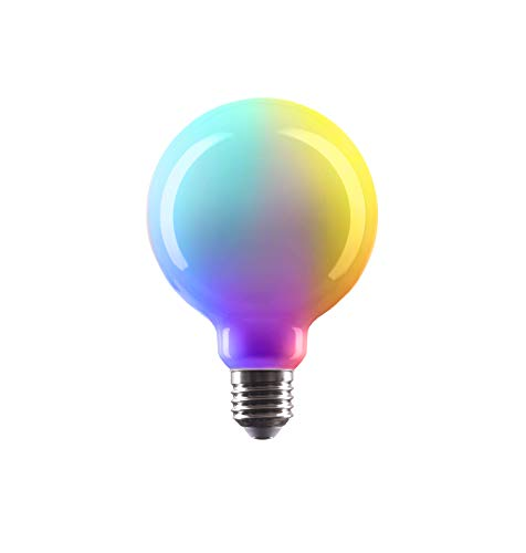 CROWN LED SMART - Bombilla LED RGB 360°, casquillo E27, regulable + blanco cálido + cambio de color RGB, 4 W, 230 V, RGB2, multicolor, 1 unidad, E27 [Clase de eficiencia energética A+]