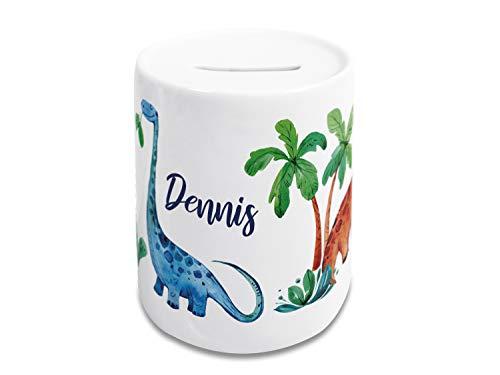 Spardose Kinder Jungen mit Namen Dino Dinosaurier, Geldgeschenk personalisiert zur Einschulung, Taufe, Geburtstag, Weihnachten, Sparschwein