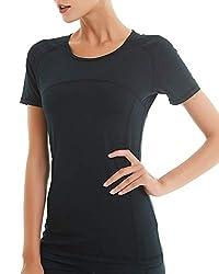 COOLOMG Damen Kompressionsshirts Hemd Sport Fitness Training Laufen Kurzarm T-Shirt Schnell trocknend Schwarz M