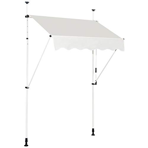 COSTWAY Toldo Protección Solar Toldo de Balcón Regulable en Altura 200-300 centímetros Toldo con Manivela para Jardín (Beige, 150cm)