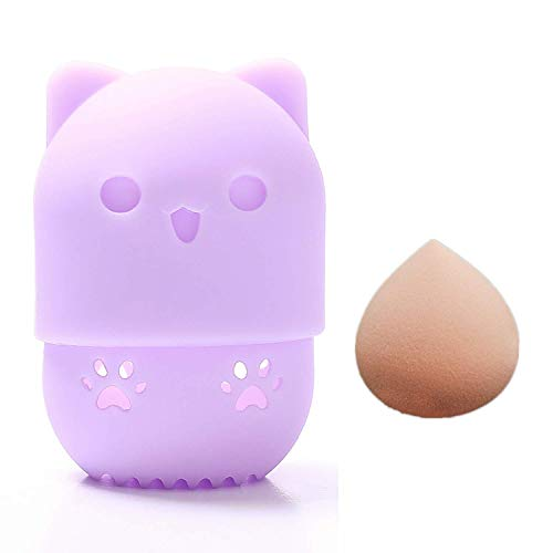 NEWSEE Silicon Makeup Egg Storage Box Powder Puff Protective Case Makeup Sponge and Cute Cat Shaped Container Set(Purple)