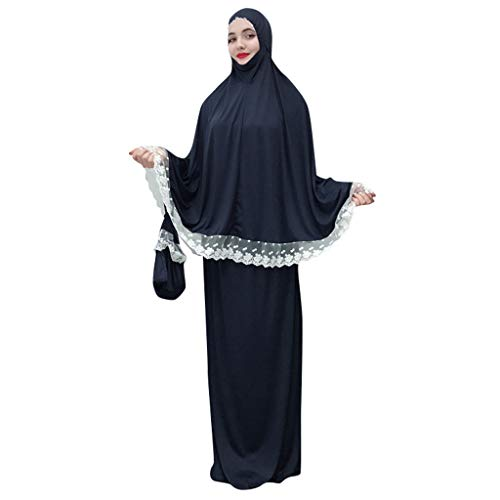 Hijab Femme Musulmane,Femmes Front Dentelle Arabe Traditionnel Musulman Robe Nationale Peignoir Abaya Islamique Musulman Milieu Est Longue Robe